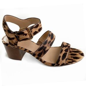 New J.Crew Chunky Block Heel Leopard Sandals